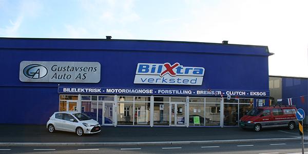 fasaden på elektro bilverksted